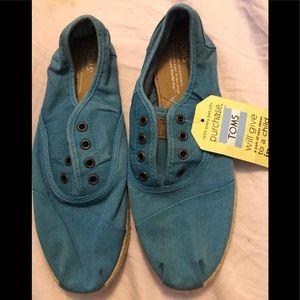 NEW Toms Aqua Blue Ceara Cordones Espadrille Shoes